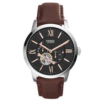 Fossil Men's Automatic Brown Leather Strap Watch - Product number 8144737