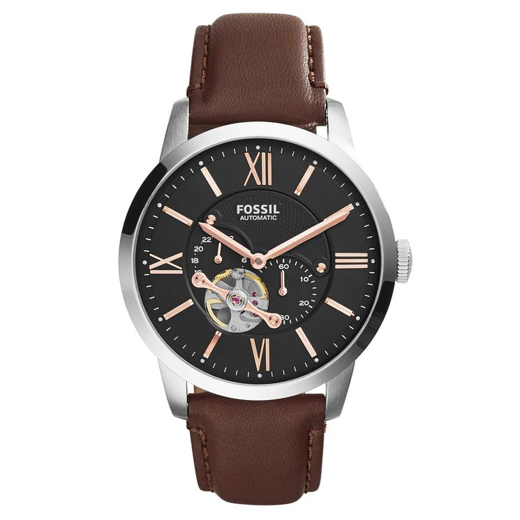 Fossil Townsman Men's Automatic Brown Leather Strap Watch - Product number 8144737