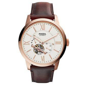 Fossil Men's Automatic Brown Leather Strap Watch - Product number 8144745