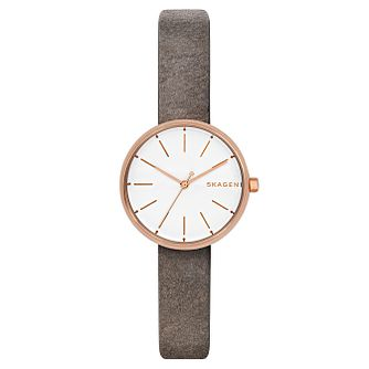 Skagen Signatur Ladies' Grey Leather Strap Watch - Product number 8144818