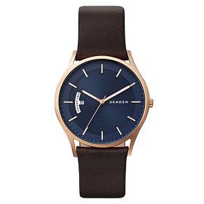 Skagen Men's Brown Leather Strap Watch - Product number 8144842