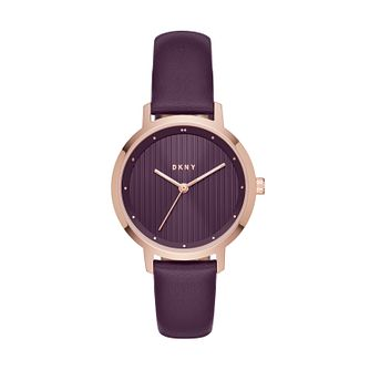 DKNY Ladies' Purple Leather Strap Watch - Product number 8144885