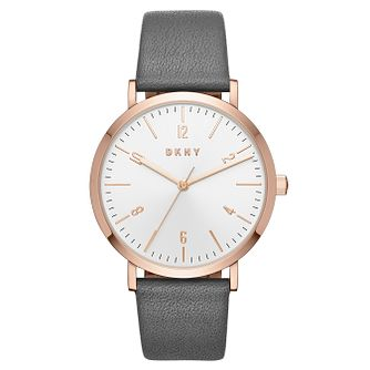 DKNY Minetta Ladies' Grey Leather Strap Watch - Product number 8144931