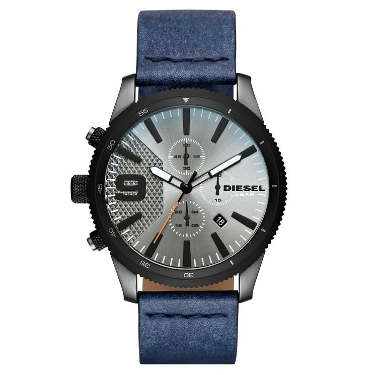 Diesel Rasp Chronograph Men's Blue Leather Strap Watch - Product number 8144982