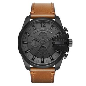 Diesel Mega Chief Men's Black Leather Strap Watch - Product number 8145008