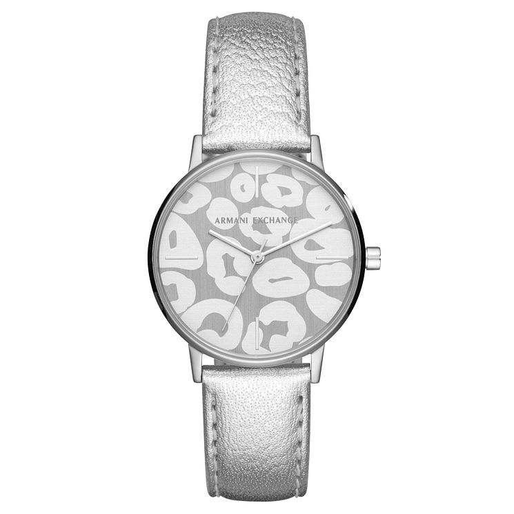 Armani Exchange Ladies' Silver Leather Strap Watch - Product number 8145040