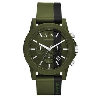Armani Exchange Men's Green Silicone Strap Watch - Product number 8145105