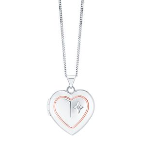 Sterling Silver & 9ct Rose Gold Diamond Heart Locket - Product number 8145857