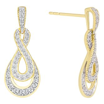 9ct Yellow Gold 0.33ct Figure of 8 Diamond Earrings - Product number 8147094