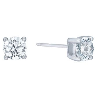 18ct White Gold 1ct H/I I1 Diamond Stud Earrings - Product number 8147116