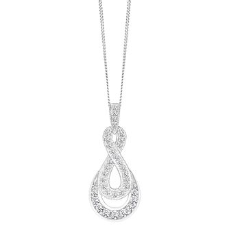9ct White Gold 0.33ct Figure of 8 Diamond Pendant - Product number 8147159
