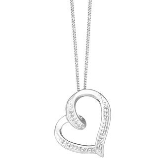 9ct White Gold Diamond Twist Heart Pendant - Product number 8147175