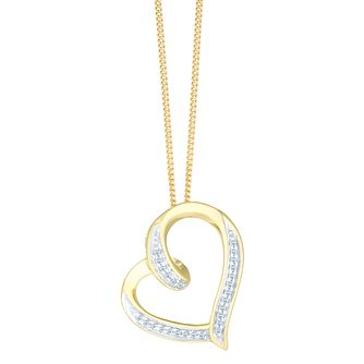 Necklaces chains pendants ernest jones 9ct yellow gold diamond twist heart pendant product number 8147183 aloadofball
