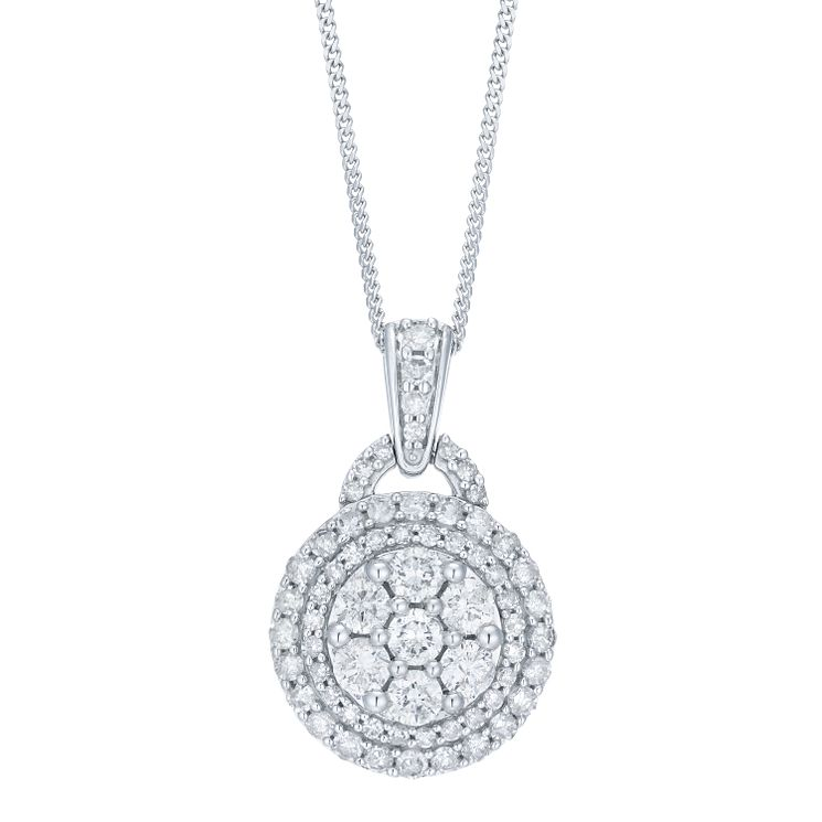 Necklaces chains pendants ernest jones 18ct white gold 1ct pave round diamond pendant product number 8147191 aloadofball