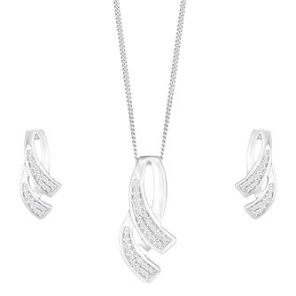 9ct White Gold Diamond Cascade Jewellery Set - Product number 8147302