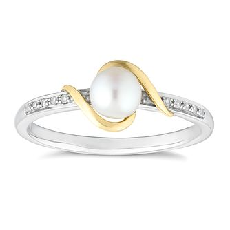 Sterling Silver & 9ct Gold Diamond & Pearl Ring - Product number 8147914