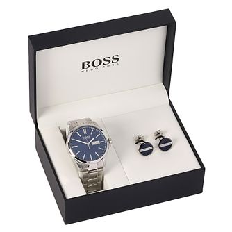 Hugo Boss Men's Blue Cufflink & Bracelet Watch Set - Product number 8150540