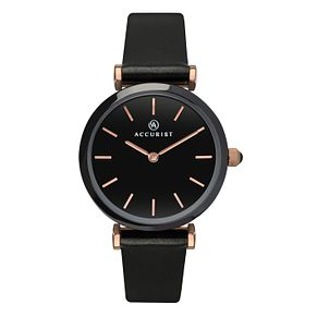 Accurist Ladies' Ceramic Black Leather Strap Watch - Product number 8151059