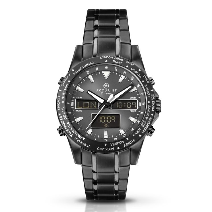 Accurist Men's World Time Gun Metal Bracelet Watch - Product number 8151091