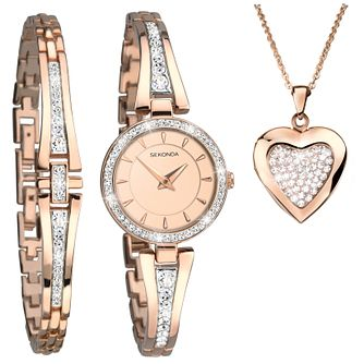 Sekonda Editions Ladies' Rose Gold Watch & Jewellery Set - Product number 8151148