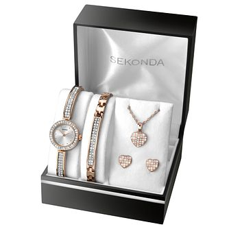 Sekonda Ladies' Rose Gold Watch & Jewellery Christmas Set - Product number 8151156
