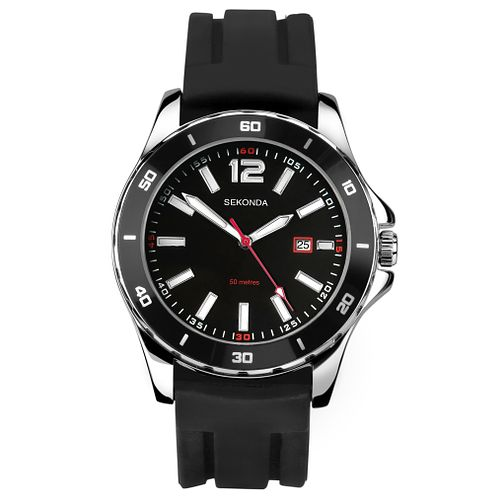 Sekonda Men's Black Silicone Strap Watch - Product number 8151318