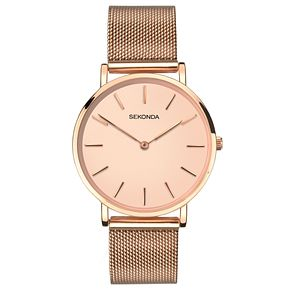 Sekonda Editions Ladies' Rose Gold Mesh Bracelet Watch - Product number 8152381