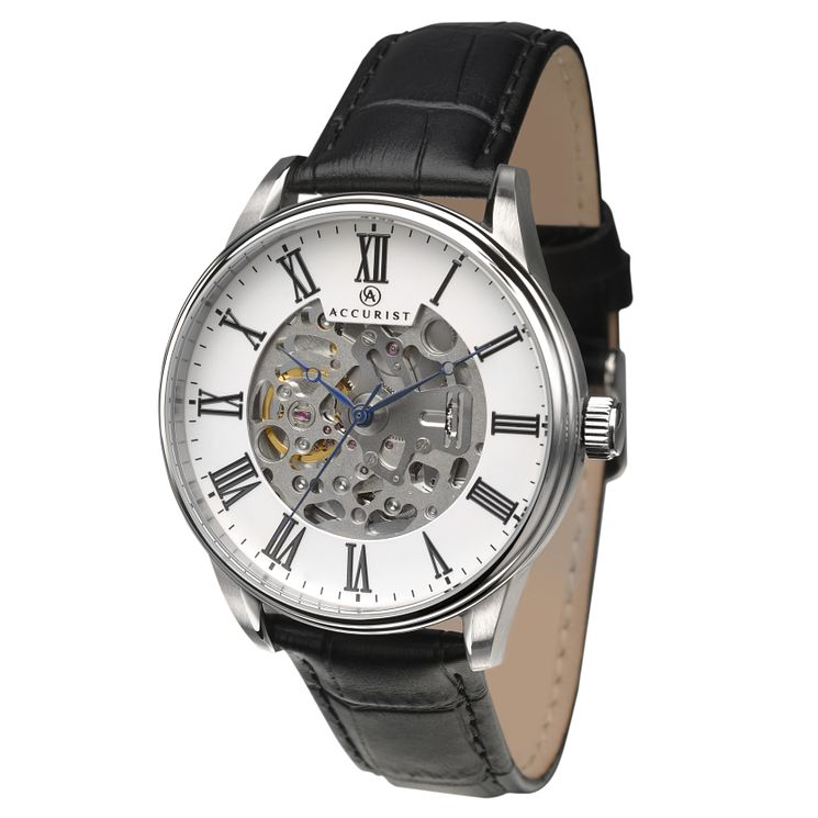 Accurist Men's Automatic Black Leather Strap Watch - Product number 8152535