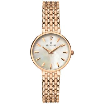 Accurist Ladies' Rose Gold Plated Stainless Steel Watch - Product number 8158436