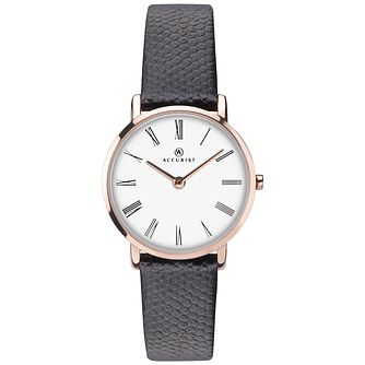 Accurist Ladies' Black Leather Strap Watch - Product number 8158444