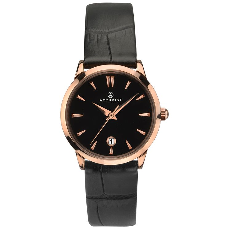 Accurist Ladies' Black Leather Strap Watch - Product number 8158452