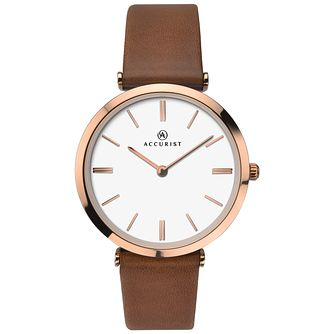 Accurist Ladies' Brown Leather Strap Watch - Product number 8158460