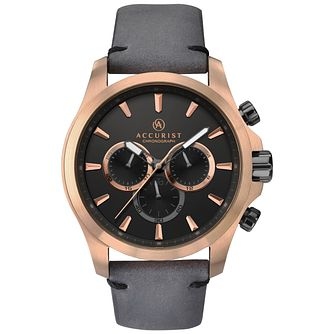 Accurist Men's Grey Leather Strap Chronograph Watch - Product number 8158487