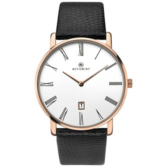 Accurist Men's Black Leather Strap Watch - Product number 8158509