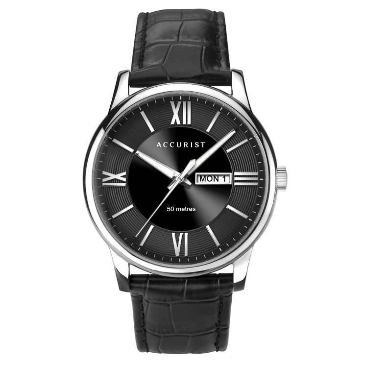 Accurist Men's Black Leather Strap Watch - Product number 8158525