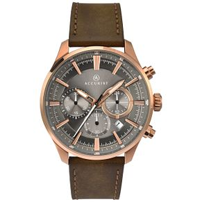 Accurist Men's Brown Leather Strap Chronograph Watch - Product number 8158541