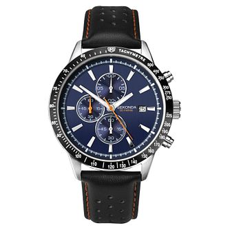 Sekonda Men's Black Leather Strap Chronograph Watch - Product number 8158614