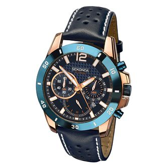 Sekonda Men's Blue Leather Strap Watch - Product number 8158649