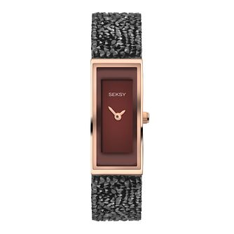 Seksy Rocks Ladies' Stone-Set Black Strap Watch - Product number 8158800