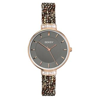 Seksy Rocks Ladies' Stone-Set Grey Strap Watch - Product number 8158827