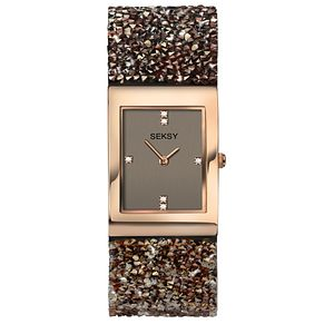 Seksy Rocks® Ladies' Stone-Set Brown Strap Watch - Product number 8158835