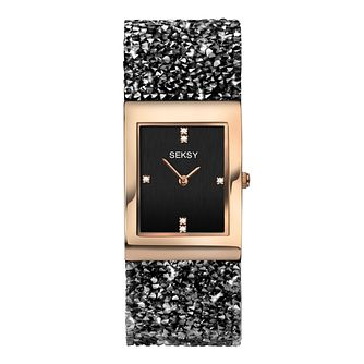 Seksy Rocks Ladies' Stone-Set Black Strap Watch - Product number 8158843