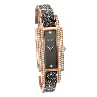 Seksy Rocks® Ladies' Black & Rose Gold Bracelet Watch - Product number 8158886