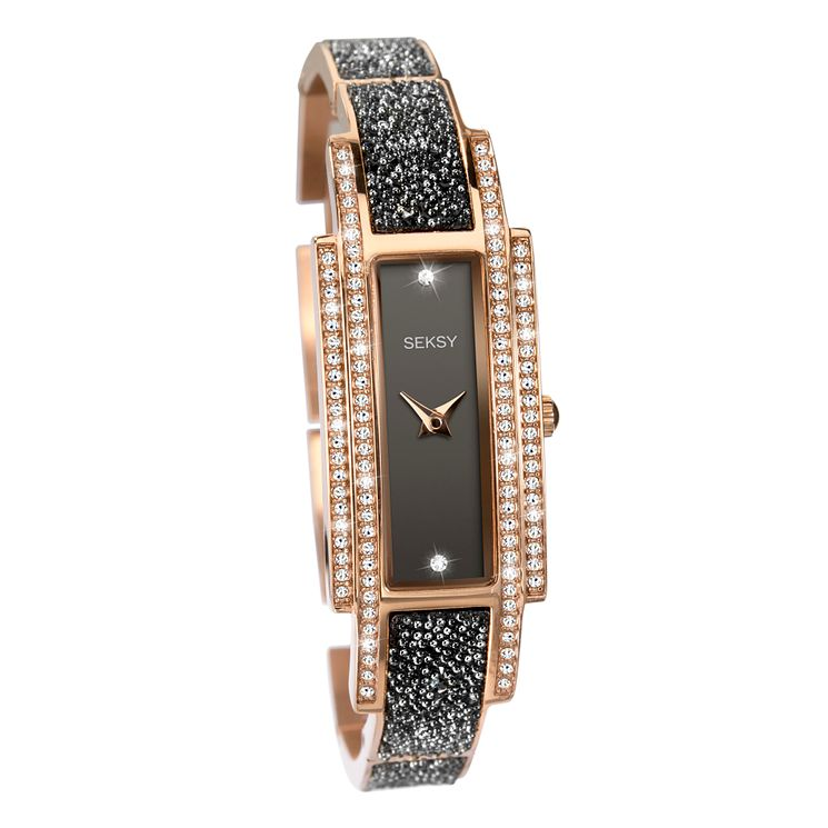 Seksy Rocks Ladies' Black & Rose Gold Bracelet Strap Watch - Product number 8158886