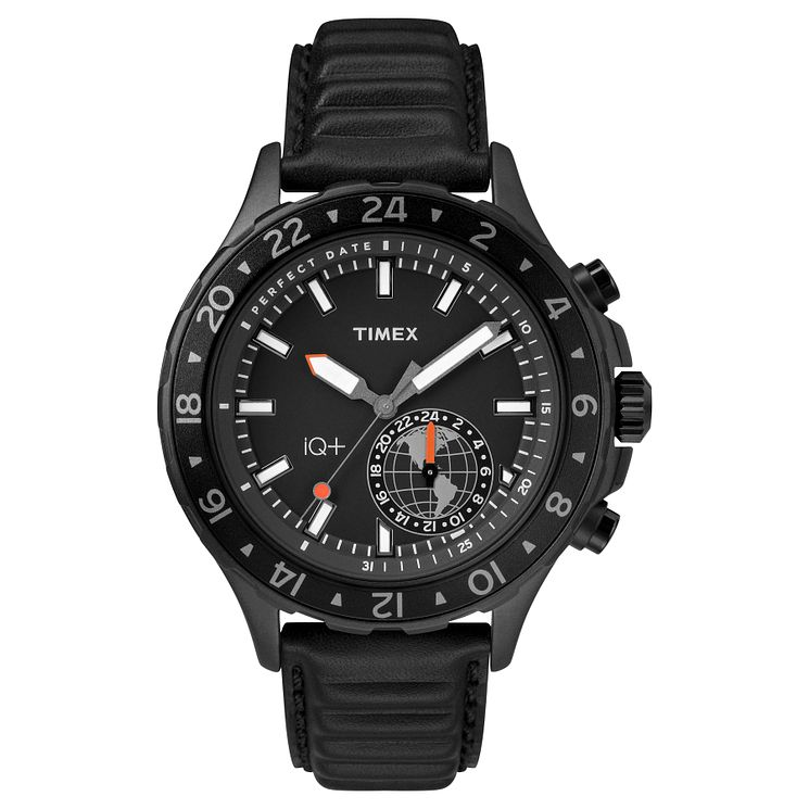 Timex IQ+ Men's Black Leather Strap Watch - Product number 8163499