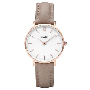 Cluse Ladies' Minuit Rose Gold Leather Strap Watch - Product number 8164819