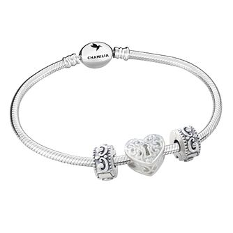 Chamilia Sterling Silver 3 Bead Bracelet - Product number 8164851
