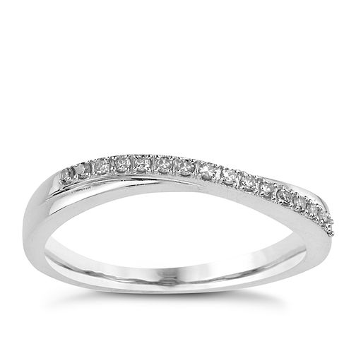 9ct White Gold Diamond Crossover Ring - Product number 8171599