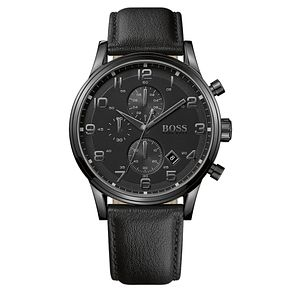 Hugo Boss Aeroliner Men's Ion Plated Black Strap Watch - Product number 8185956