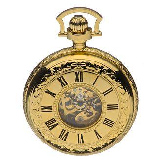 Half Skeleton Gold-Plated Pocket Watch - Product number 8191174